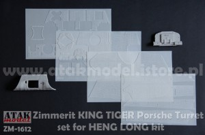 ZM-16012 ZIMMERIT KING TIGER Porsche Turret for HENG LONG kit