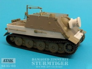 SE35-03 STURMTIGER DAMAGED ZIMMERIT