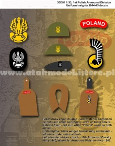 35D-01 1st Polish Armoured Division Uniform Insignia 1944-1945